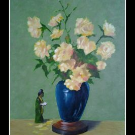 Flower pot oil painting